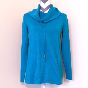 Karl Lagerfeld Turquoise Cowl Neck Sweater